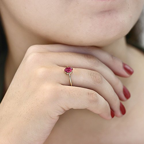 Pink Tourmaline 10K Yellow Gold Solitaire Engagement Ring (0.70 cttw, Sizes 5,6,7,8,9)
