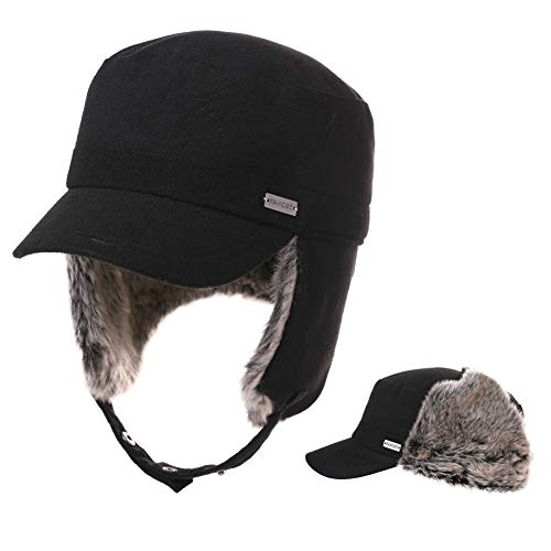 Fancet Mens Ear Flaps Army Military Hunting Trapper Hat 24