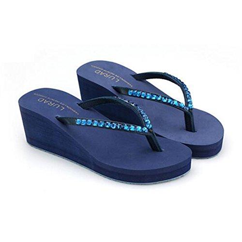 Ciabatte Infradito Da Donna Con Strass Antiscivolo Da Spiaggia Con Zeppa Infradito Blu Royal