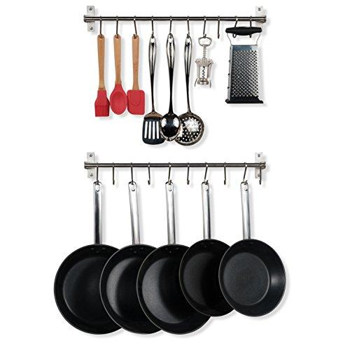 (Wallniture Hanging Pot Pan Lid Utensil Organizer Kitchen Rail Stainless Steel 23 Inch Set of 2)