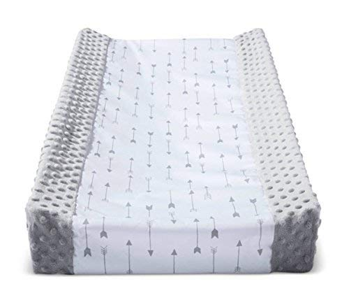 Wipeable Baby Diaper Changing Pad Cover Grey White with Plush Sides Arrows by Cloud Island