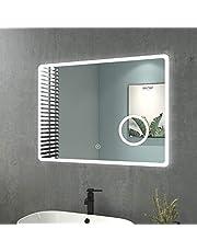 Heilmetz Lustro łazienkowe z oświetleniem LED, ścienne, przełącznik dotykowy, 3-krotne powiększenie, 3 barwy światła: zimna, neutralna i ciepła biel (regulacja od 3000 do 6500 K), IP44, A++, 80 x 60 cm