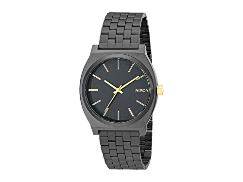 NIXON Time Teller A047 - Matte Black/Gold - 102M Water Resistant Men's Analog Fashion Watch (37mm Watch Face, 19.5mm-18mm Stainless Steel Band) (Nixon Player Black)