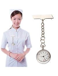 Tangyongjiao Relojes fashionalbe Reloj de Pulsera de Cuarzo Redondo de aleación de Enfermera portátil con Pasador (Plateado)