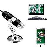 Jiusion 40 A 1000x Endoscopio, 8 LED USB 2.0 Digital Microscopio, Mini Cámara con OTG Adaptador y Metal Soporte, Compatible con Mac Windows 7 8 10 Android Linux