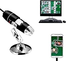 Jiusion 40 to 1000x Magnification Endoscope, 8 LED USB 2.0 Digital Microscope, Mini Camera with OTG Adapter and Metal...
