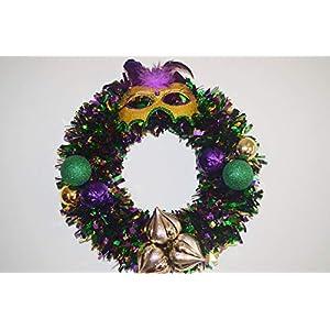 Mardi Gras Tinsel Mask Front Door Wreath 32