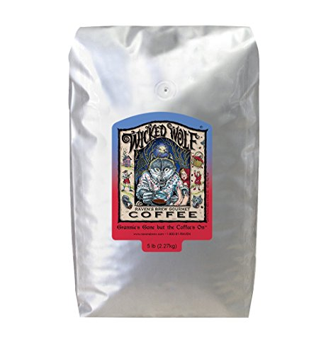 Ravens Brew Whole Bean Wicked Wolf, Dark Roast 5-Pound Bag
