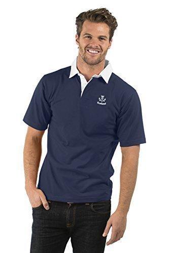 Schottland Flaggen Aufgeld Kurzarm Rugby Hemd - Scotland Short Sleeve Rugby Shirt - Herren & Damen - Farbe Marine Blau - XS bis 2XL BCSR-NVY-SCTTHS