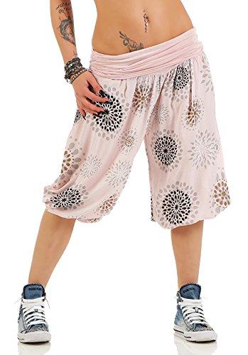 ZARMEXX Señoras 3/4 bombachos estilo Capri pantalones harén pantalones cortos de verano de yoga hasta la rodilla Aladin un tamaño Rosa