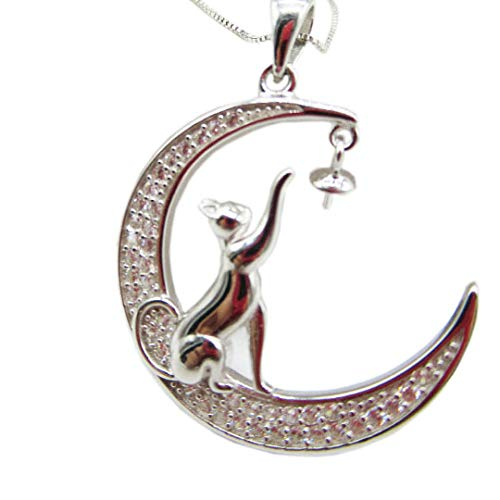 1 pc Solid Sterling Silver Pendant Setting, Moon and cat Pendant Blank for Pearl Mount, Jewelry DIY,Gift DIY