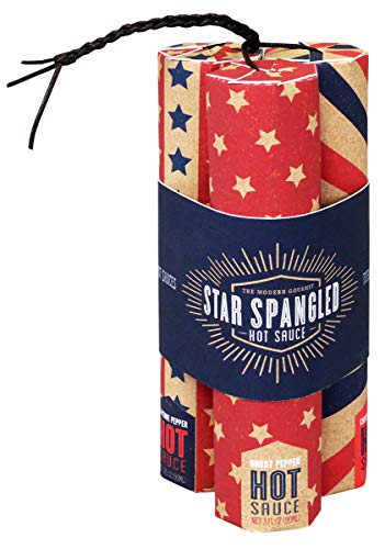 Fun Pack Set - Thoughtfully Gifts, Star Spangled Hot Sauce, All-American Hot Sauce Varieties, Set of Cayenne Pepper, Garlic, and Jalapeno Flavors, Set of 3, 3 Fluid Ounces Each
