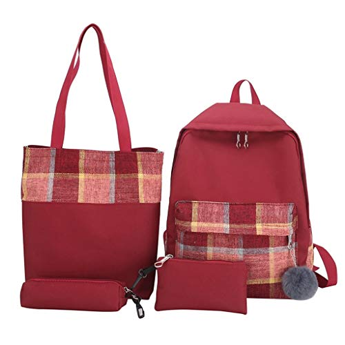 Tronet Casual Daypack for Travel, 4Pcs Women Plaid Canvas Hand Bag Shoulder Bag Cosmetic Bag Pencil Case Package ()