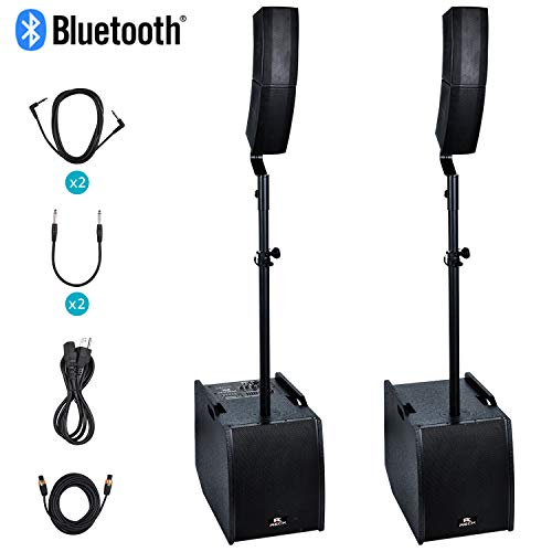 Proreck Club 3200 12-Inch 3000 Watt DJ/Powered PA Speaker System Combo Set with Bluetooth/USB/SD Card (Two Subwoofers and 8X Array Speakers Set) (Dj 3000)