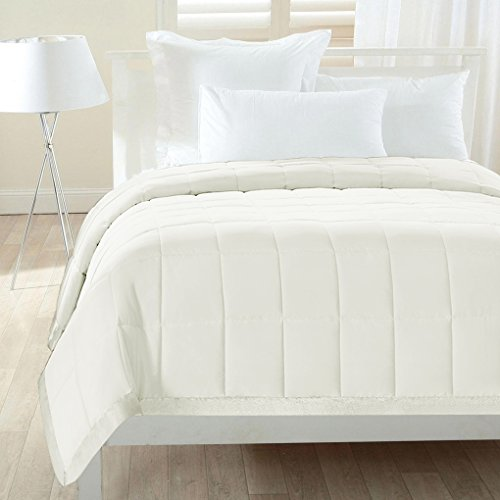 Sweet Home Collection All Season Down Alternative Satin Trim Blanket, King, (Ivory Satin Trim)