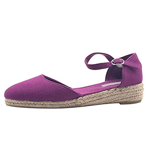 - Womens Platform Wedge Sandals Closed Toe Lace Up Buckle Ankle Strap Heel Slingback Espadrille Sandals Shoes Purple