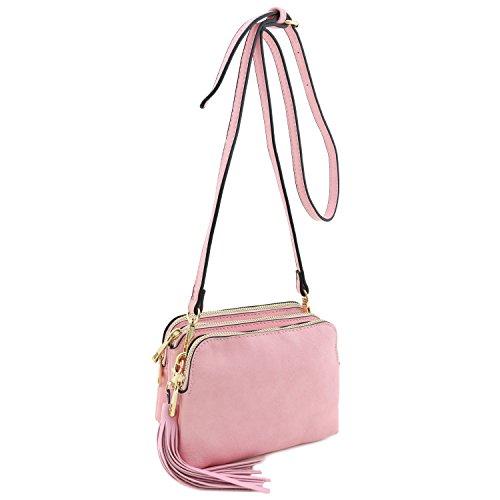 Triple Compartment Tassel Pink Light Mini with Crossbody Bag 1awnH1qr4