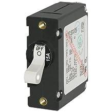 Blue Sea Systems A-Series White Toggle Circuit Breaker - Single Pole, 15A
