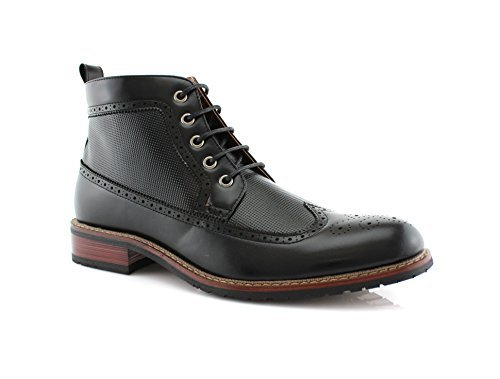 Ferro Aldo MFA-806278 Men's Black Lace up Wing Tip Perforated Dress Ankle Boot (11) (Men Black Boots)