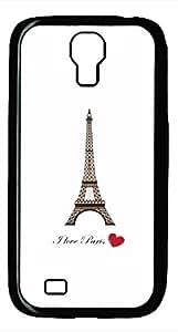 Samsung Galaxy S4 I9500 Black Hard Case - I Love Paris Galaxy S4 Cases