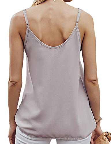 RSM &CHENG Women's Button Down V Neck Strappy Tank Tops Loose Casual Sleeveless Shirts Blouses (Apricot, XX-Large)