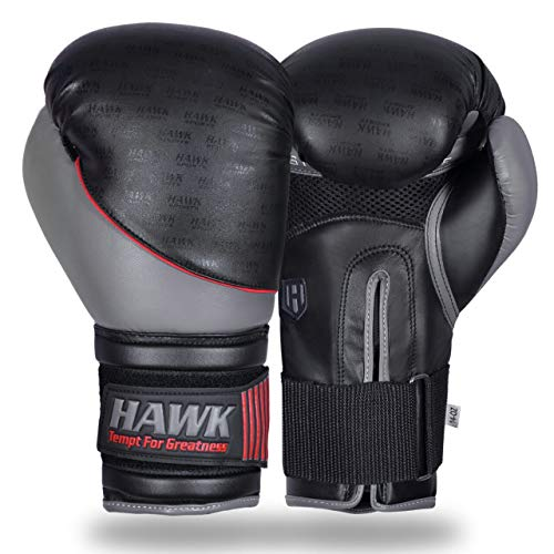 Hawk Sports Boxing Gloves for Men & Women MMA Sparring Muay Thai Kickboxing Leather Training Punching Heavy Bag Mitts USA Limited Edition (8 oz, Grey Limited Edition)