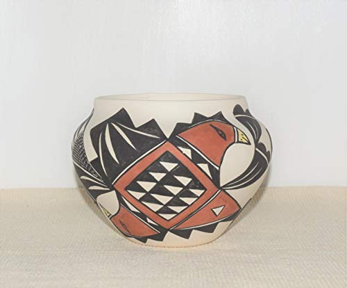 (Genuine Hand Painted Acoma Pueblo Pottery Bowl with Parrot Design by 88 Year Old Virginia Victorino)