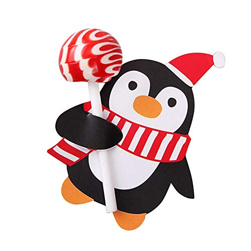 LLIND 100x Santa Claus Penguin Lollipop Christmas Card Lolly Sugar-Loaf Xmas Party Toy,Lollipop Decorative Paper Card,Christmas Party Supplies (Red) (Color : Black) ()