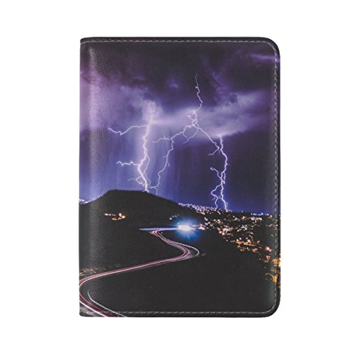 Lightning Road City Night Leather Passport Holder Cover Case Travel One Pocket