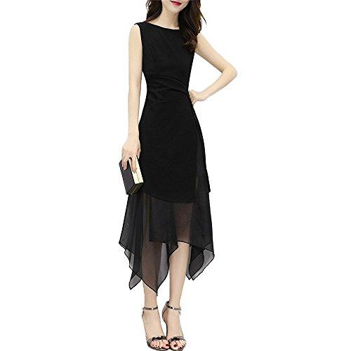 故障追記眩惑する2018 春 夏 お洒落 上品 袖なし ロングタイプ シフォン ワンピース 女スリムボディー セクシー 不規則 ブラックスカート
