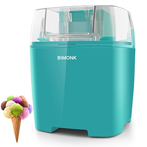 BIMONK Ice Cream Maker, for Kids DIY Frozen Yogurt, Gelato Or Sorbet Maker, with Control Knob and Auto Shut Off, BPA Free Electric ice Cream Machine for Home - 1.5 Quart, Blue