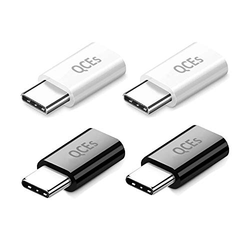 USB C Fast Charging Adapter 4Pack, QCEs Micro USB to USB C Convert Connector Charger Compatible with Samsung Galaxy S8 Plus S9 S10 S9+ S10+ Note 8/9, Google Pixel 2/3 XL LG V40 V30 V20 G7 G6 G5 More from QCEs