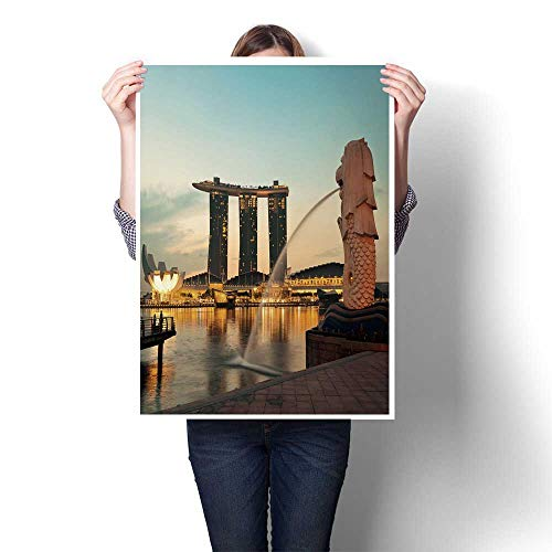 Panels Wall Art Waves Painting on Canvas SAPORE February, The Merlion Fountain and Marina Bay with Sunrise Morn Canvas,28