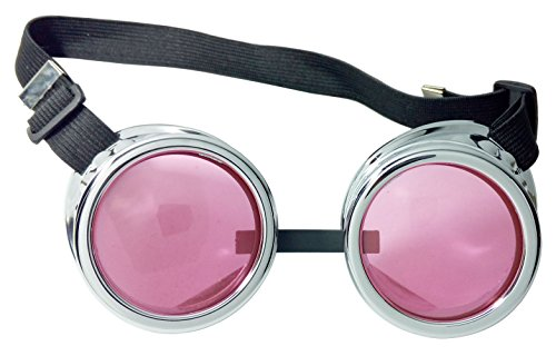 Oudeer Welding Steampunk Goggles Cosplay Victorian Antique Goth Glasses ColorfulLens (Silver Frame Pink (Steampunk Eye Makeup)