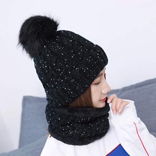 Womens Pom Beanie Hat Scarf Set Girls Cute Winter Ski Hat Slouchy Knit Skull Cap