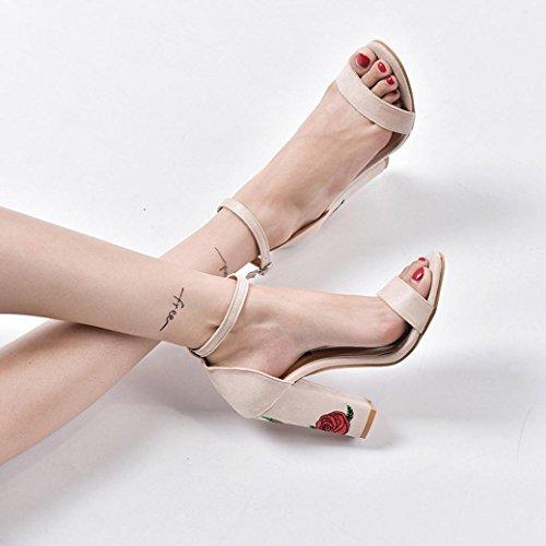 IGEMY Frauen Wildleder Rose Stickerei mit Crude hochhackigen Sandalen Beige