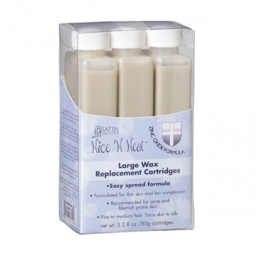 Oxide Replacement (Satin Smooth NICE 'N NEAT Zinc Oxide Wax Large 3 Replacment Cartridges 2.8 oz.)