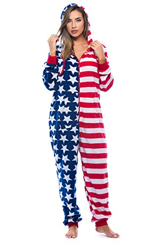 24494942b Amazon.com   followme American Flag Adult Onesie Pajamas  Clothing