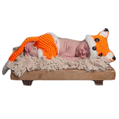 Fashion Cute Newborn Knitted Boys Girls Baby Photography Props Outfits Fox Hat Pants Clothes