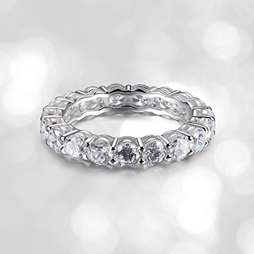 Platinum Plated Sterling Silver Cubic Zirconia Eternity Band Ring, Size 7