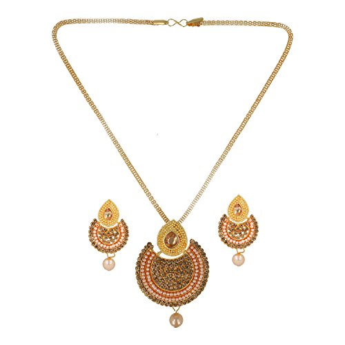 Be You Amazing Golden Color Diamond Look Rhodium Plated Brass Chand Bali Earrings & Necklace Set for Women (Brass Chand Plated)