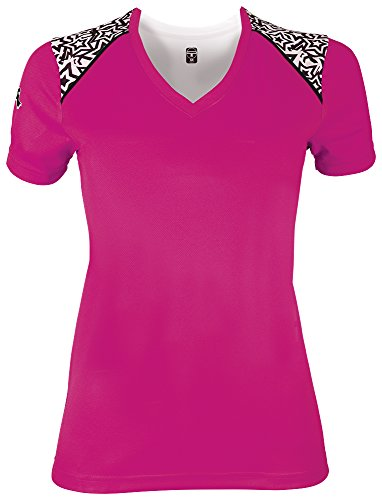 Teamwork Girl's Starlet Tech Tee, Large, Fuchsia/Stars/Black