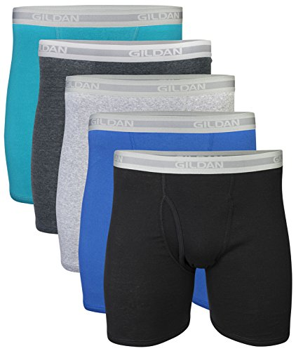 Gildan Men's Regular Leg Boxer Brief 5 Pack, Medium, Mixed Blue/Grey