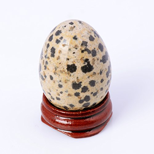 - Dalmatian Jasper 4030mm Eggs with Wood Stand Stone Carved Natural Gemstone Bell Chakra Healing Crystal Reiki Crafts Free Pouch (Dalmatian Jasper)