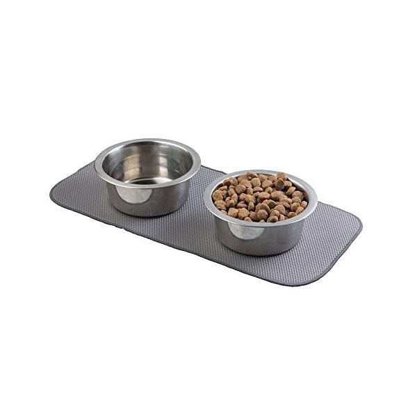 mDesign Premium Quality Microfiber Polyester Pet Food and Water Bowl Feeding Mat for Dogs - Ultra Absorbent Reversible Placemat - Folds for Compact Storage - Small 7