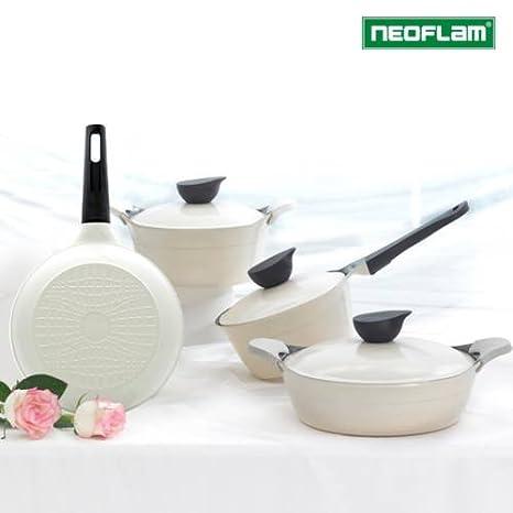 Neoflam Ecolon Juego de sartenes de aluminio fundido, 4 pcs con tapa y asa de silicona marfil color: Amazon.es: Hogar