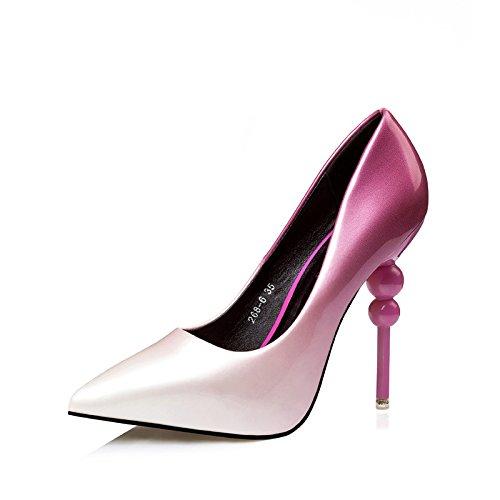XiaoGao Las nuevas mujeres Zapatos Moda señaló 11 centimetros con finos tacones y tacones altos,Rojo