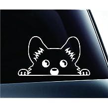 Corgi Peeking Dog Symbol Decal Funny Car Truck Sticker Window (White)