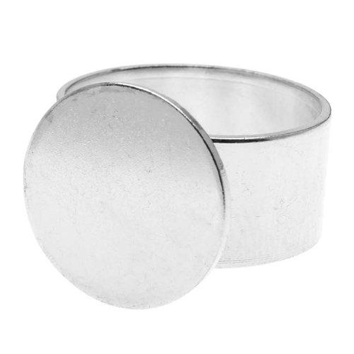 Metal Nunn Designs (Nunn Design Bright Silver Plated Pewter 16mm Round Glue-On Adjustable Ring)
