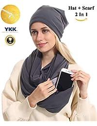 Zipper Travel Pocket Infinity Scarf Hat Set - Coffee...